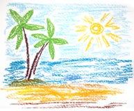 Palms on empty idyllic tropical sand Stock Photos