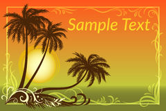 Palms, Floral Pattern and Sea Landscape Royalty Free Stock Image