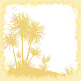 Palms, Flowers and Frame of Blots Silhouettes Royalty Free Stock Image