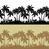 Palms and flowers silhouettes, set seamless Stock Image