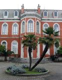 Palms in front of the building Royalty Free Stock Photography