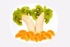 Palms fruit. Of kiwi, tangerine and banana Stock Photography