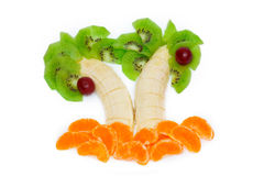 Palms of fruits. On a plate Stock Photography