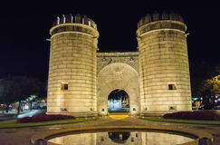 Palms Gate, Monument roundabout  at night (Puerta de Palmas, Bad. Ajoz), Spain Stock Photos