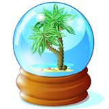 Palms in glass ball Royalty Free Stock Image