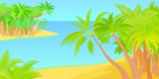 Palms horizontal banner island, cartoon style Stock Photo