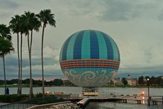 Palms, hot air balloon and sunset skyline, in Disney Spring, Lake Buena Vista. royalty free stock photo