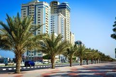 Palms and hotels in Ras Al Khaimah, UAE Royalty Free Stock Image