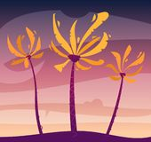 Palms on island, sky and sunset. Cartoon vector illustration stock images