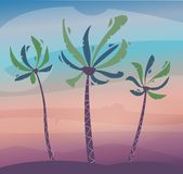 Palms on island, sky and sunset. Cartoon vector illustration. Summer sticker or poster. Summertime. Tropical exotic plants. Paradise beach. Travel concept vector illustration