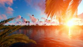 Palms island at sunset with hot air balloons flying vector illustration