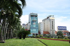 Palms and Modern buildings in Ho Chi Minh City Royalty Free Stock Images