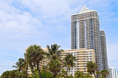 Palms and modern buildings of Miami Beach waterfront. Stock Photo