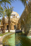 Palms and pond at Oman pavillon, EXPO 2015 Milan Royalty Free Stock Photography