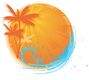 Palms round banner. Round banner with palms and ocean's wave and water splash royalty free illustration