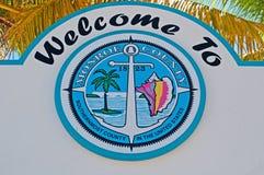 Palms, signboard, welcome to Monroe County, Key West, Keys, Cayo Hueso, island, Florida. Key West, Keys, Cayo Hueso, State of Florida, Sunshine State, coast stock photography