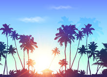 Palms silhouettes at blue sunrise sky Royalty Free Stock Images