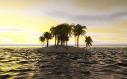 Palms on a small ocean island Royalty Free Stock Photos