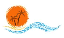 Palms and sun. Vector logo. ocean waves, palm trees and sun Royalty Free Stock Photography