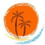 Palms and sun. Vector logo. ocean waves, palm trees and sun Stock Photos