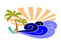 Palms and surfing waves Royalty Free Stock Photography