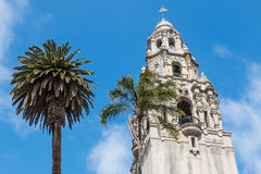 Palms Trees at Base of California Tower in Balboa Park. SAN DIEGO, CALIFORNIA - APRIL 28, 2017: Palm trees at the base of the California Tower in Balboa Park, an stock image