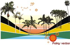 Palms vector shapes Stock Photography