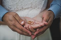 Palms with wedding rings 2289. Stock Images