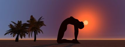 Palms and yoga royalty free illustration