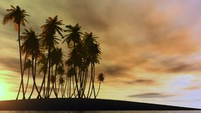 Palms02. The fantasy island by sunset Royalty Free Stock Photo
