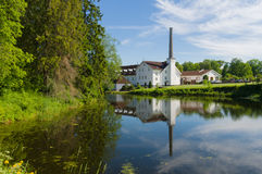 Palmse distillery reflection in water of pond. Estonia stock photo