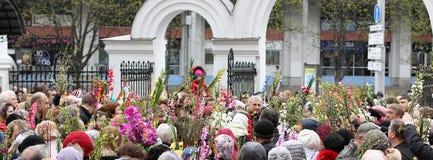 Palmsonntags-Feiern in der orthodoxen Kirche Stockfotos