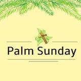Palmsonntags-Wedel und Kreuzvektorhintergrund Vektorillustration für den christlichen Feiertag stockfoto