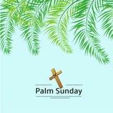 Palmsonntags-Wedel und Kreuzvektorhintergrund Vektorillustration für den christlichen Feiertag stockfotos