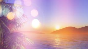 palmträd 3D på solnedgången med retro effekt Arkivfoton