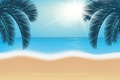 Palmträd för vykort för sommarferie på paradisstranden stock illustrationer