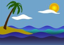 Palmträd, havet och vågor Royaltyfria Foton
