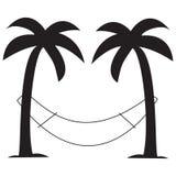 Palmträd med hängmattan Royaltyfria Foton