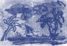 Palmträd och fartyg på havet, skissar royaltyfria bilder