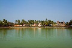 Palmträd och kojor på kusten av sjön arkivfoto