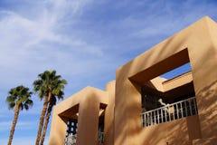 Palmträd och sydvästlig arkitektur royaltyfria foton