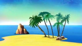 Palmträd på en öde kust av den tropiska ön royaltyfri illustrationer