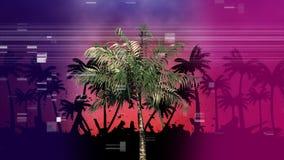 Palmträdet med annan gömma i handflatan i skuggan medan den faktiska fyrkanten som fräser som PIXEL på förgrund royaltyfri illustrationer