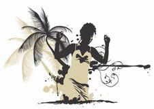 palmträdkvinna royaltyfri illustrationer