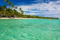 Palmträd över den tropiska lagun på fijianska öar Arkivbild