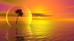 Palmtree in een bel op de oceaan Stock Foto