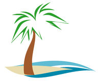 Palmtree On Shore. Palm tree on sandy beach island with blue water stock illustration