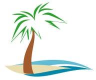 Palmtree On Shore. Palm tree on sandy beach island with blue water Stock Illustration