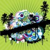 Palmtree y flores del vector Foto de archivo libre de regalías