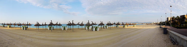 Palmy de Mallorca panoramy fron może pastillo plaża Obrazy Stock